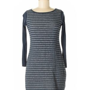 TALBOTS Sweatshirt Dress LS Blue Grey Stripes SP